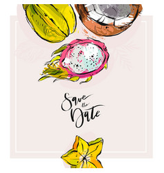hand drawn tropic abstract save the date vector image