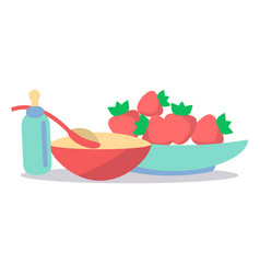 kids healthy ration flat concept vector image vector image