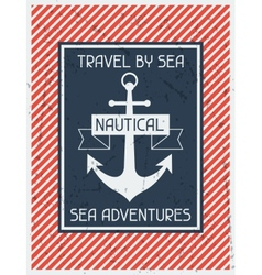 Nautical Retro poster in flat design style vector image vector image