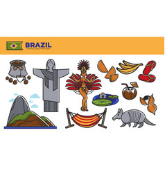 brazil travel destination promotional poster with vector image