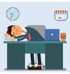Businessman Working Day Sleeping Businessman vector image