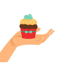 hand holding chocolate cupcake gift vector image vector image