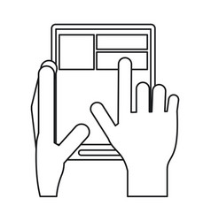 hand touch tablet web page line vector image