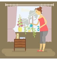 Housewife in funny cartoon style vector image vector image