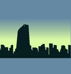 mexico city scenery silhouettes at sunrise vector image vector image