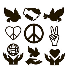 peace icons set vector image vector image
