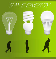 save energy concept evolution from incandescent vector image