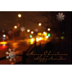 Christmas background with night city and flying sn vector image