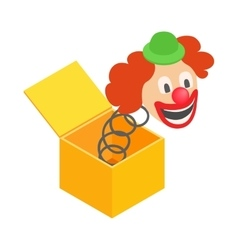 Clown jumps out of the box icon vector image