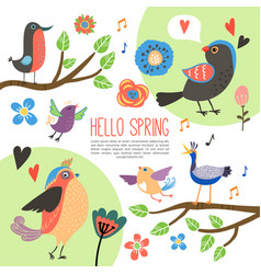 flat spring time composition vector image vector image