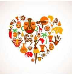 Heart with Africa icons vector image vector image