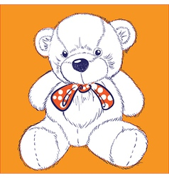 Retro bear on orange background with bow vector image vector image