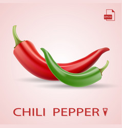 set of two chili peppers red and green vector image