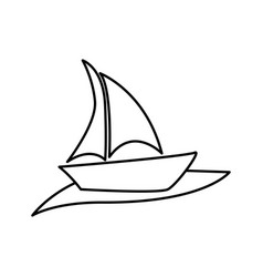 silhouette boat in the ocean icon vector image