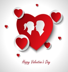 Valentine card with hearts and lovers template vector image vector image
