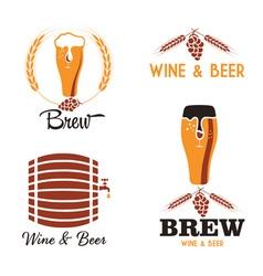 wine and beer vintage labels set vector image vector image