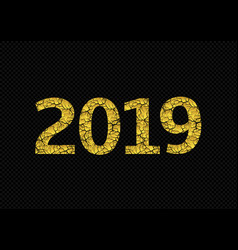 2019 broken golden numbers vector image