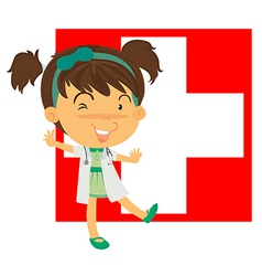 A nurse in front of the switzerland flag vector