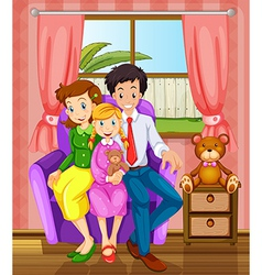 A smiling family inside the house vector