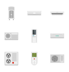 Air conditioner system icon set flat style vector