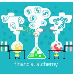 Alchemy generating money ideas in laboratory vector