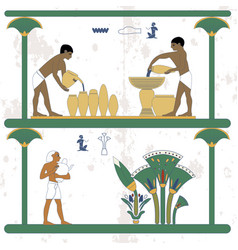 Ancient egypt background water carriers at work vector