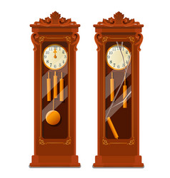 Antique wooden grandfather clock with broken glass vector