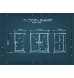 Architectural Drawing of Windows vector image