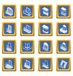 balcony window forms icons set blue square vector image