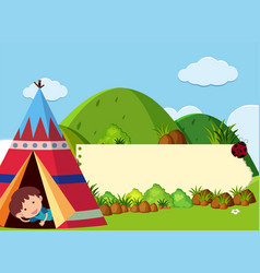 banner template with kids camping in the mountain vector image