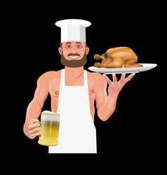 bartender holding beer and fried chicken vector image