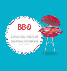 bbq party mockup oven with steaks and text sample vector image