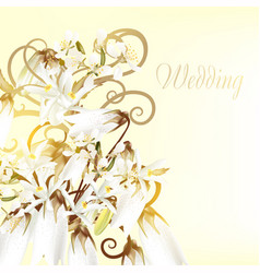 Beautiful wedding card with white flowers vector