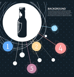 beer bottle icon with the background to the point vector image