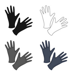 black protective rubber gloves icon cartoon vector image