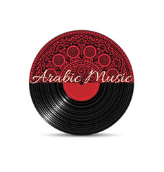 black vinyl disk record with red mandala vector image