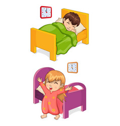 boy sleeping in bed collection vector image