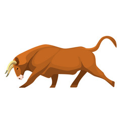 bull full length animal profile view on brown vector image