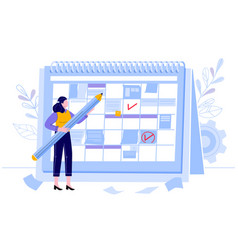 Business woman check calendar planning day work vector