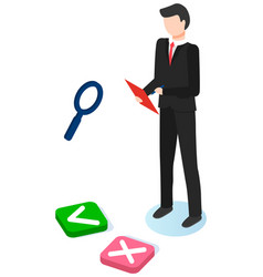 Businessman stands with clipboard magnifying vector