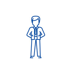 businessman with hands back line icon concept vector image