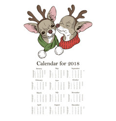 calendar two cute dogs in christmas costumes vector image