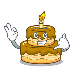 Call me birthday cake mascot cartoon vector