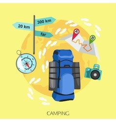camping tourism background flat style design vector image