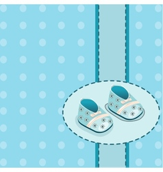 Card for baby boy shoes vector