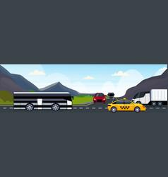 cars passenger bus and semi truck driving asphalt vector image