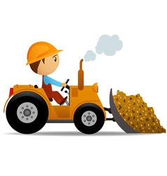 cartoon bulldozer vector image