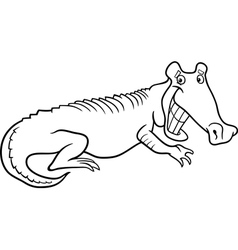 cartoon crocodile for coloring book vector image