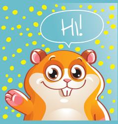 Cartoon hamster hi vector