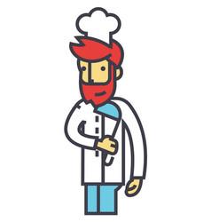 chef cooker restaurant kitchen concept line vector image